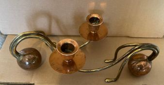 "Antique Pair of German Arts&Crafts Candlesticks unsigned - 8 1/2"" x 4""."