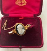 Antique Cased 15ct Gold and Cameo Brooch - 47mm x 25mm - 5.4 grams.