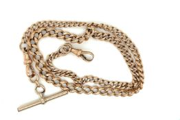 Antique 9ct Gold Watch Chain - 45.5cm long and weighing 27.4 grams.