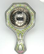 "Antique Tiffany Sterling Silver and Enamel Tea Strainer - 4"" (102mm) long."