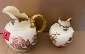 "Pair of Antique Royal Worcester Vases - 6 1/2"" and 5"" tall."