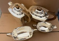 Art Deco 4 piece Tea/Coffee Service-Sheffield 1932-George Wish -total weight 1900 grams.