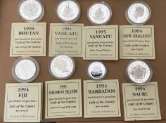 Lot of 8 Queen Mother Silver Proof Coins with certificates - each coin 31.47grams-apart from one 10g