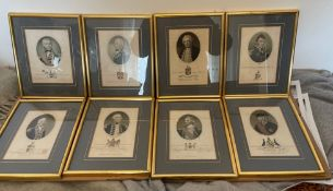 Lot of 8 Antique Framed Prints of Admirals of the Fleet etc.