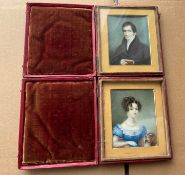 Pair of Antique Red Morrocco Leather Cased Miniatures of Gent and Lady.