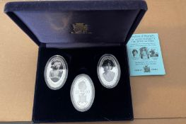 Boxed Set of 3 Queen Mother Bank of Zambia Silver 925 Coins - each coin 20 grams.