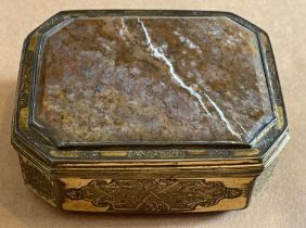 """Antique Brass and Agate Box - 3 3/4"""" x 3"""" x 1 3/8"""" with internal lid and surrounding scroll work."""