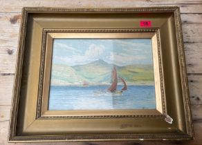 """Vintage Framed Watercolour by Geo Miller of Boating Scene - actual watercolour 14"""" x 10""""."""
