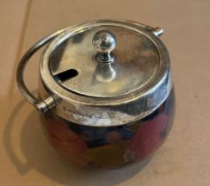 """Antique Moorcroft Preserve Pot with Silver Plated Fittings-approx 3 1/2"""" Tall and 3 1/2"""" at widest"""