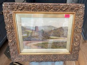 """Antique Landscape Oil Painting signed AR in Heavy Gilt Frame - actual oil - 15 1/4"""" x 11 1/4"""""""