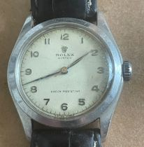 Vintage Gents Stainless Steel Rolex Oyster - case approx 33m in diameter - in working order.