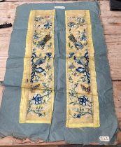 """Pair of Antique/Vintage Chinese Embroidered Silk Sleeves - each 23""""(58cm) x 5""""(13cm)"""