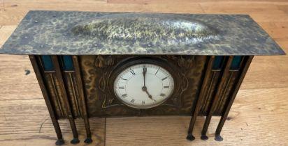 "Antique Arts&Crafts Brass Mantel Clock - 13 1/4"" x 7 1/2"" x 4 3/8""."
