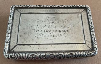 Antique Victorian Silver Snuff Box with inscription - 85mm x 57mm x 17mm.