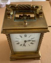 Antique Brass Chiming Carriage Clock - 150mm x 105mm x 90mm - ticking order.