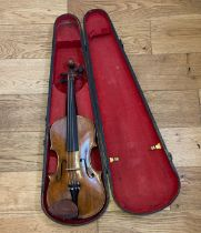 """Antique HOPF stamped Violin - 23 1/2"""" overall with a 14 1/8"""" back."""