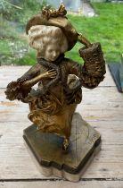 "Antique/Vintage D GRISARD Gilt Bronze and Ivory Lady Skater Figure 17"" (48cm) tall."
