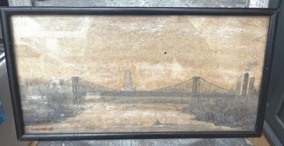 "Antique/Vintage Oil Painting of Brooklyn Bridge? New York by R Saunders - 14"" x 7 1/4"""