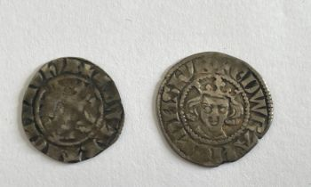 Lot of 2 Edward Silver Coins - 20mm and 18mm in diameter.