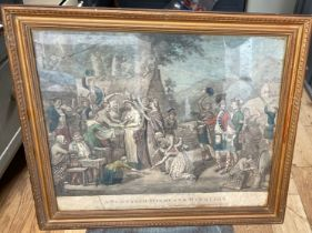 """Antique 1815 Framed Engraving """"A Scottish Highland Marriage"""" - actual engraving 13 5/8"""" x 9 1/2""""."""