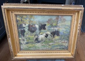 """George Smith Cattle Scene Oil Painting - actual oil 15"""" X 11""""."""