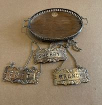 Antique Levi&Salaman Miniature Silver and Wood Gallery Tray plus 3 Sterling Silver Wine Labels.