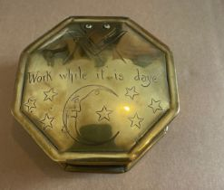 """Antique Brass Octagonal Masonic Box """"work while it is daye"""" - 4 5/8"""" across top."""
