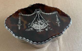 "Antique Silver and Tortoiseshell Lidded Box 4 3/4"" x 3 1/2"" x 1 1/4""."