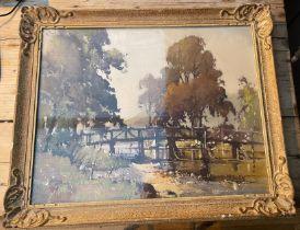 "Antique Albert Gordon Thomas RSW Watercolour of ""St Fillans"" actual watercolour 23"" x 18 1/2"""