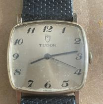 Vintage Gold Square Cased Gents Tudor Watch - case approx 30mm across - working order.