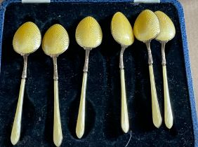 Vintage Boxed of Silver and Enamel Spoons - 100mm long.