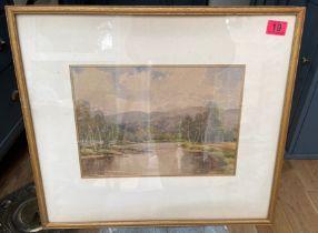 """Antique G POPE Landscape Watercolour - actual watercolour 13 5/8"""" x 9 1/2"""""""