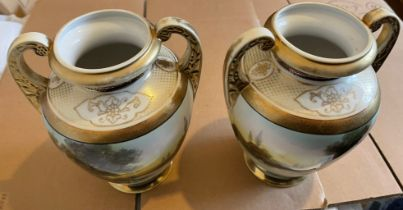 """Antique/Vintage Pair of Noritake Vases with Pastoral Scenes - approx 8 1/2"""" tall and 7"""" at widest."""