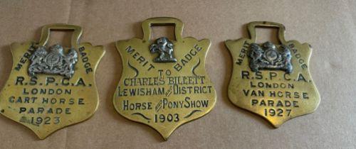 "Lot of 3 Antique RSPCA Brass Horse Merit Badges - largest 4 1/8"" x 3"""