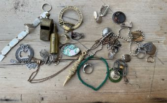 Odd Lot to contain Rettie Aberdeen Clan Badge, Charles Horner Brooch, Silver, Jewellery, Lighter etc
