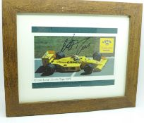 A framed and signed picture of triple world champion Nelson Piquet