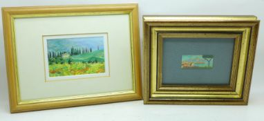 Two small framed landscapes, one on ceramic, the other a print