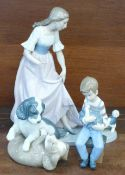 Three Nao by Lladro porcelain figures, Puppy Tugging Girl's Skirt, Lets Play, model no. 02001023,