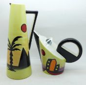 A Lorna Bailey teapot-Manhattan design, 14cm, and a Lorna Bailey tall jug decorated in the