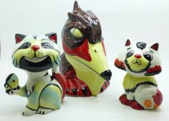 Three Lorna Bailey figures, Spike the Pelican, Cat with Butterfly and Honey, tallest 14cm