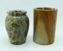 Two hardstone vases/pots, (cylindrical pot restored on the rim), 8-9cm
