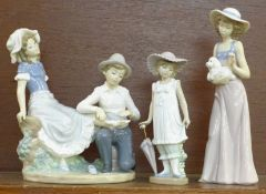 Three Nao by Lladro porcelain figurines, Boy Bandaging Her Foot, Tender Moment, 22cm, model no.