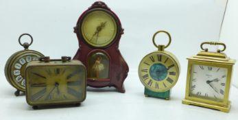 Five clocks including two Swiza 8 day