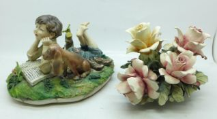 A Capodimonte figure of a boy reading a book with dog, signed Milio on the side, blue crown on the