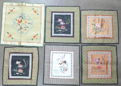 Six Chinese silk embroideries