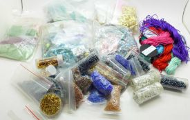 A collection of jewellery components including findings, crystals, semi precious stones, beads,