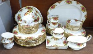 Royal Albert Old Country Roses dinner service, eight setting, eight tea cups, nine saucers, sixty