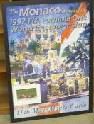 A large A1 poster, 1997 Monaco Grand Prix with mounted signed picture of winner Michael Schumacher