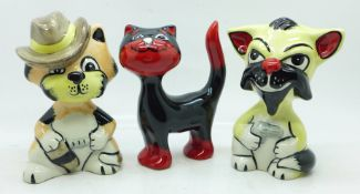 Three Lorna Bailey cats, Precious, Duke and Make my day Clint (Eastwood), all 12-13cm