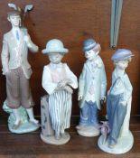 Four Lladro porcelain figure, Boy with Napsack The Wanderer, 22cm, model no. 5400, designer